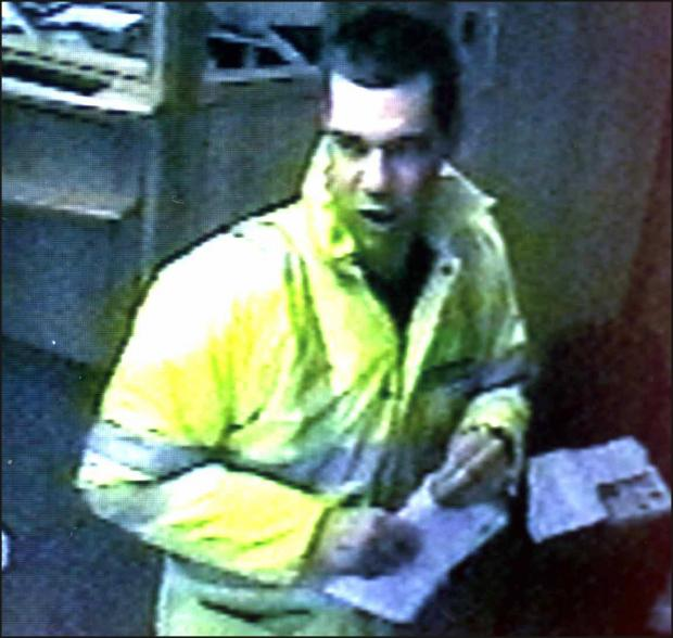 CCTV of Wheatley during his raid on the Bishop's Waltham building society in 2002.