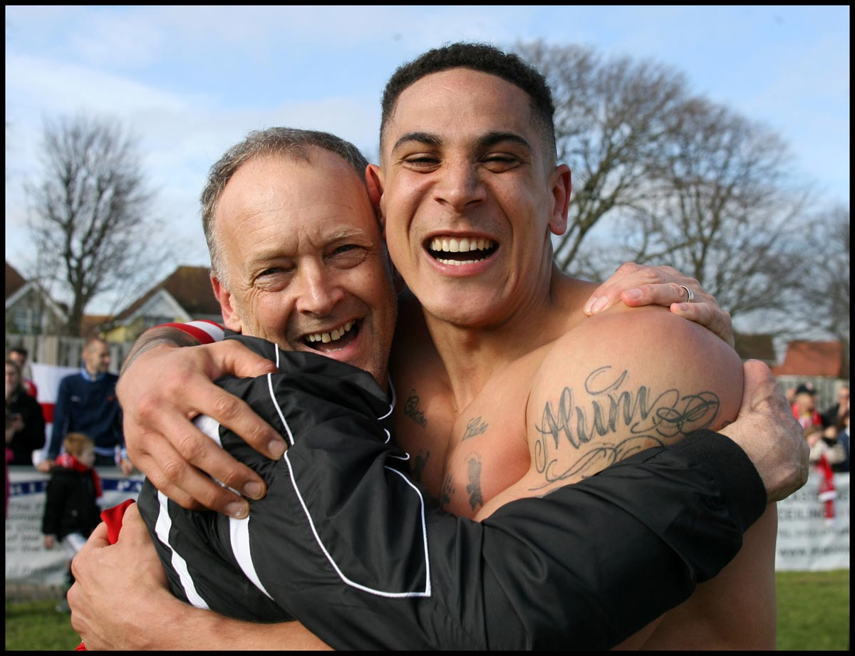 Dave Diaper celebrates getting to Wembley with skipper Byron Mason.