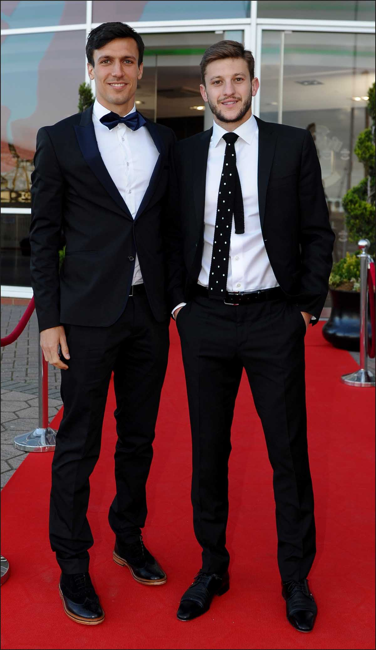 Adam Lallana arrives for the awards with Jack Cork.