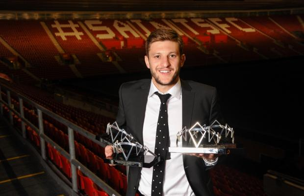 Daily Echo: Adam Lallana with his awards at the 2014 Saints Awards Dinner