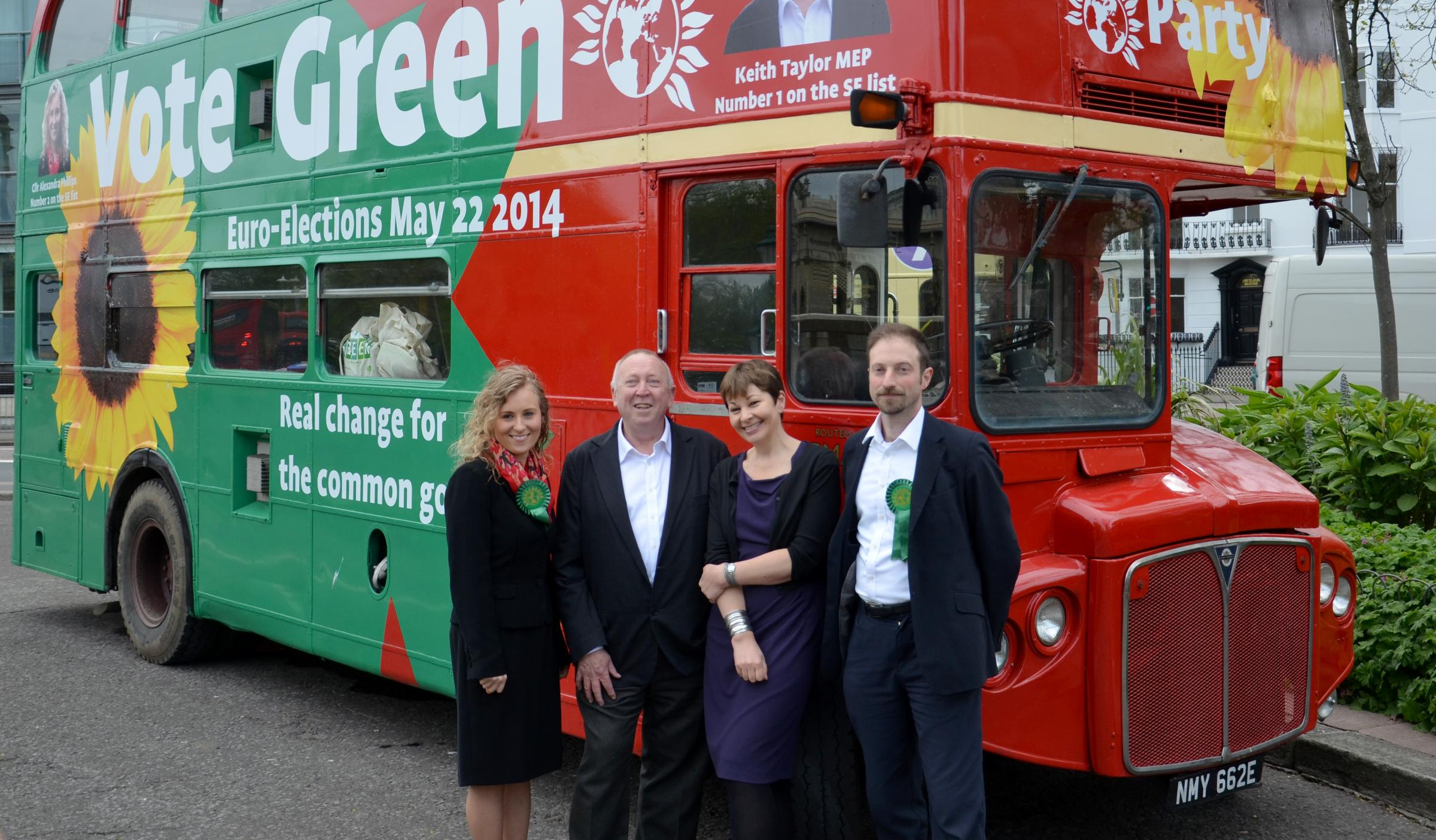 From left, Cllr Alexandra Phillips, Keith Taylor MEP, Caroline Lucas MP and Cllr Jonathan Essex who will be campaigning to see the Green Party succeed in Europe