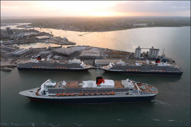 Daily Echo: Three Queens pictured in Southampton this morning to celebrate QM2's 10th anniversary