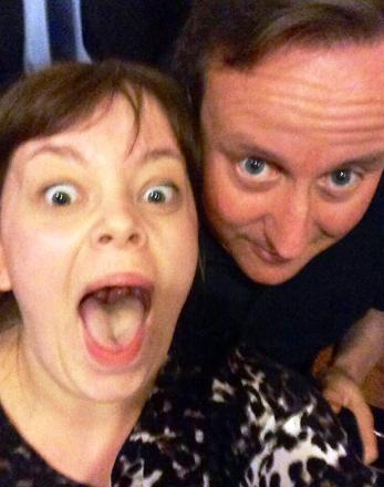 Hampshire student has a selfie taken with Prime Minsiter David Cameron at Nandos