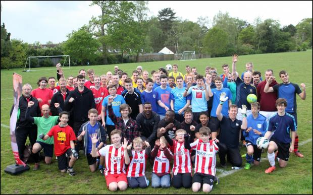 The teams in the Christian Aid football tournament in Chandler's Ford.