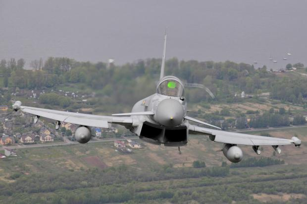 Daily Echo: POLICING ROLE: A RAF Typhoon in flight over Lithuania