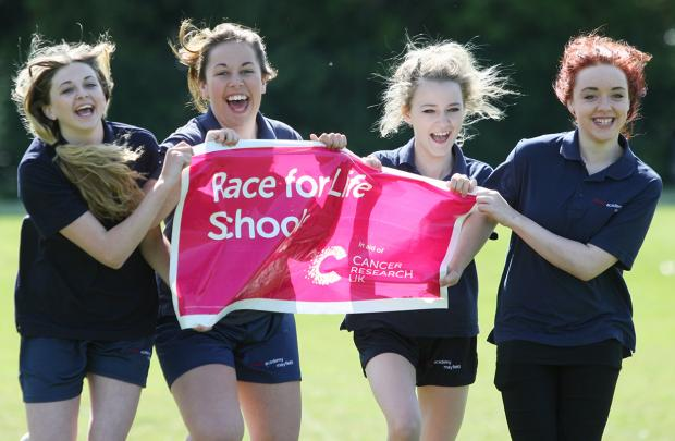 Daily Echo: Evey Sinclair , Megan Holme, Natalie Czaja and Page Burrows help launch Race for Life Schools