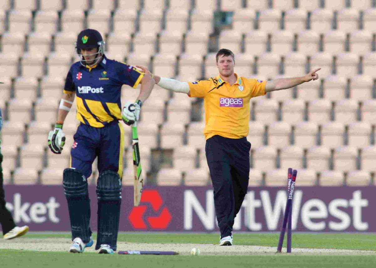 All-rounder Matt Coles takes a wicket for Hampshire