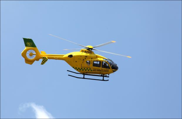 Boy airlifted to hospital after being found in swimming pool