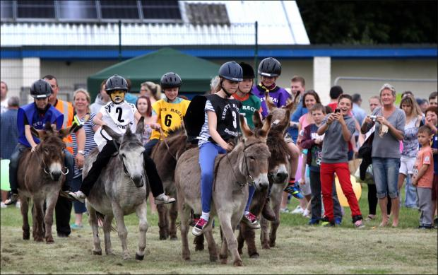 Daily Echo: Children compete in the 19th annual Totton and Eling Donkey Derby