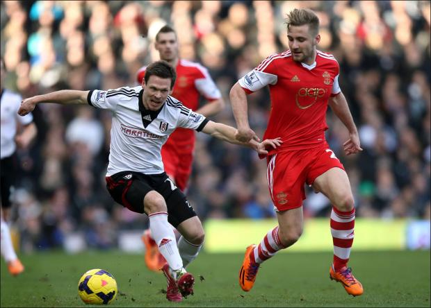 Luke Shaw in action for Saints