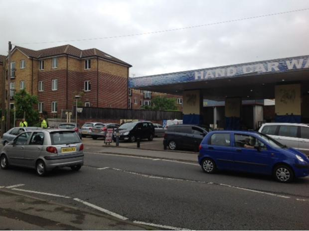 Police attended a car wash in Totton this morning