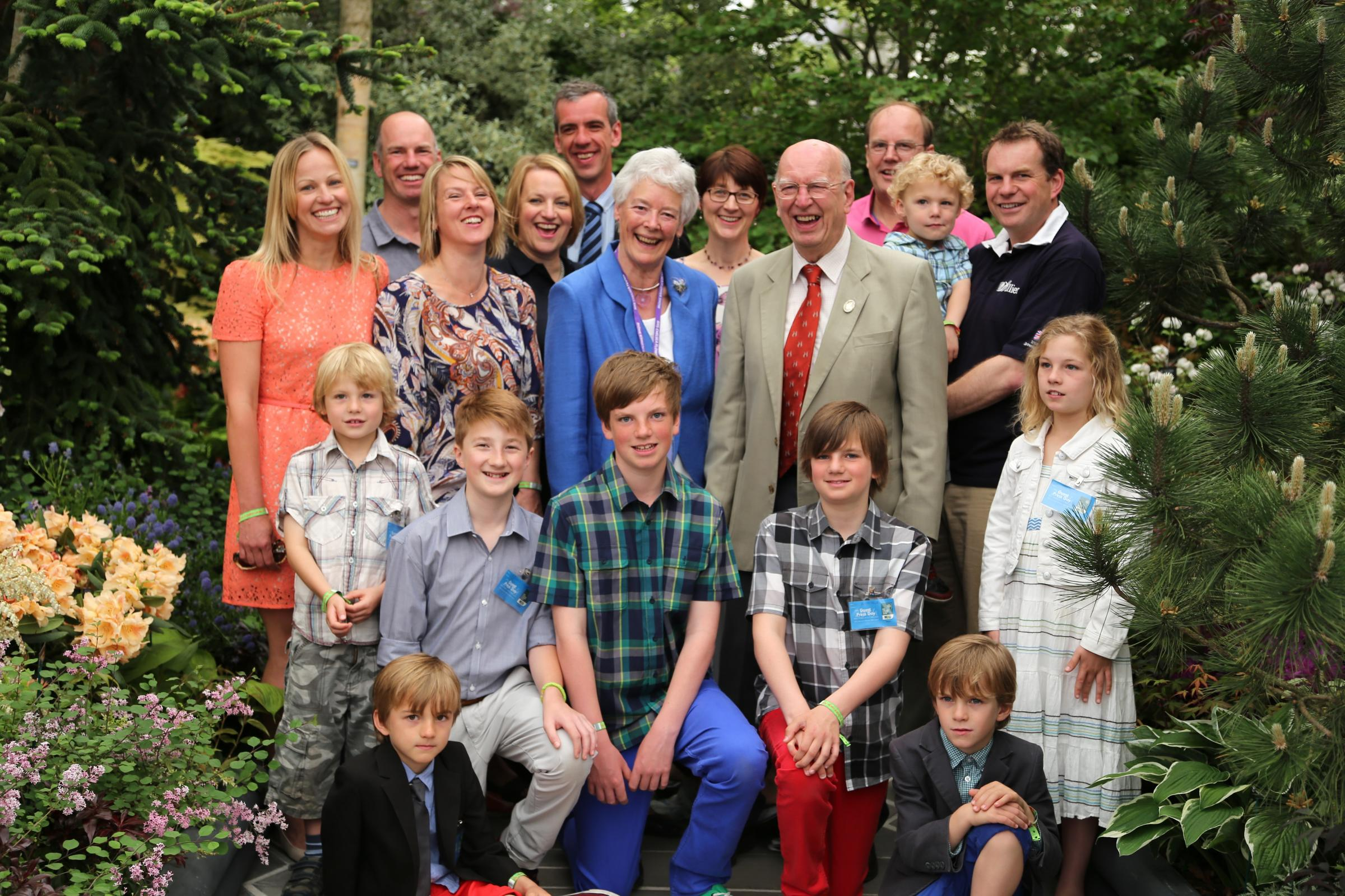 President of Hillier Nurseries, John Hillier, joined family on the Hillier Exhibit for a group photograph to celebrate the 150th anniversary