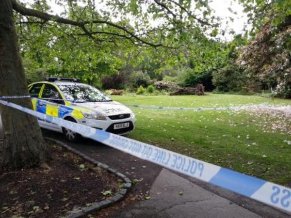 Police tape off Palmerston Park in Southampton.