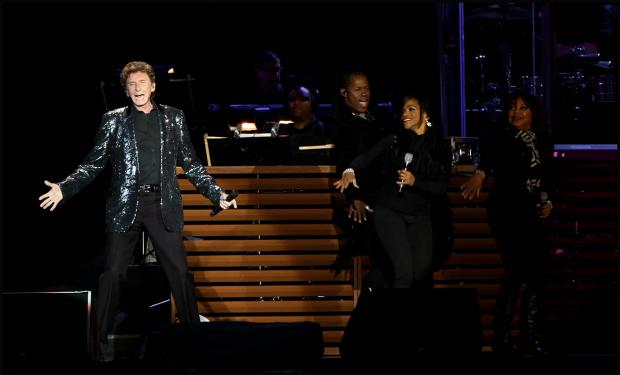 Barry Manilow on stage at the Ageas Bowl last night.