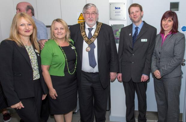 Basepoint Southampton staff celebrate their 20th anniversary with the Mayor of Southampton, Councillor Ivan White.