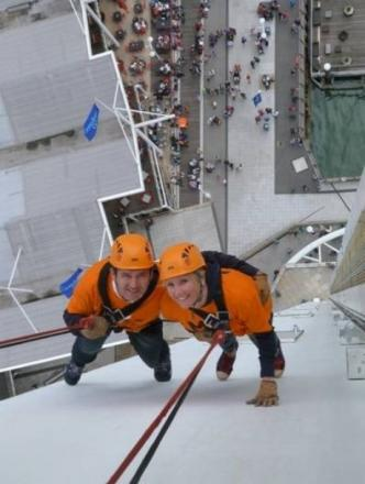 Gosport MP Caroline Dinenage abseils for charity