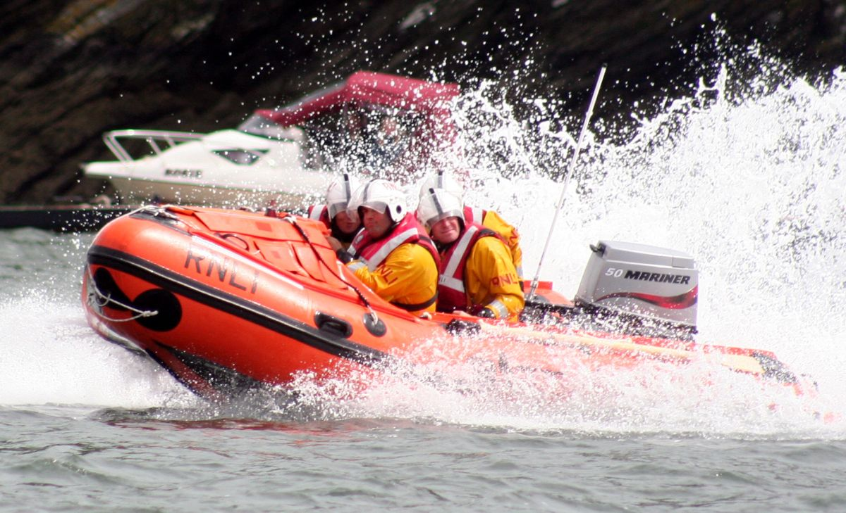 A RNLI rib in action