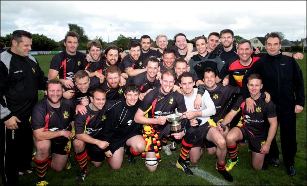 Eastleigh Rugby Club celebrating a recent cup win