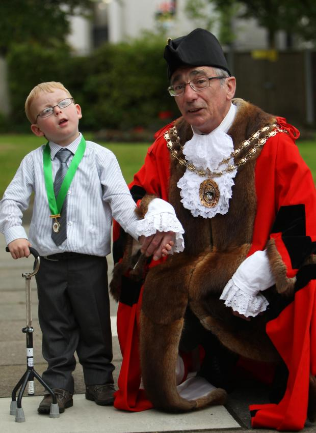 Daily Echo: Harvey Young with newly installed mayor Cllr David Norris.