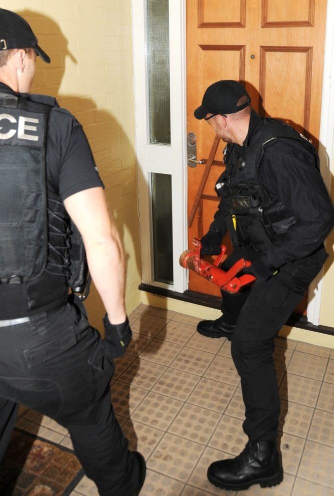 Police conduct a drugs operation on the Northam Estate in Southampton.