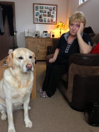 Lyn Godwin and guide dog Vicki.