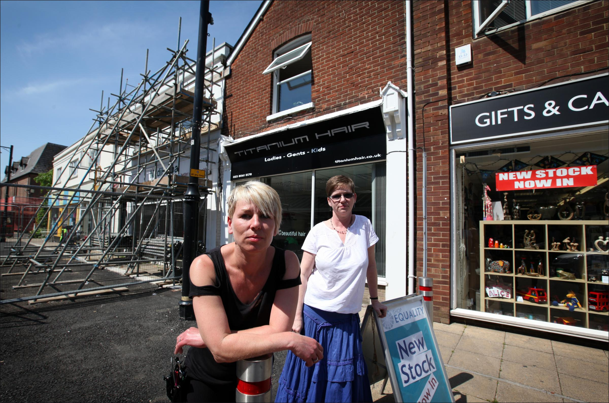 Donna Smith, owner of Titanium hair salon and Sue Hunt, who runs Fairtrade store Shop Equality