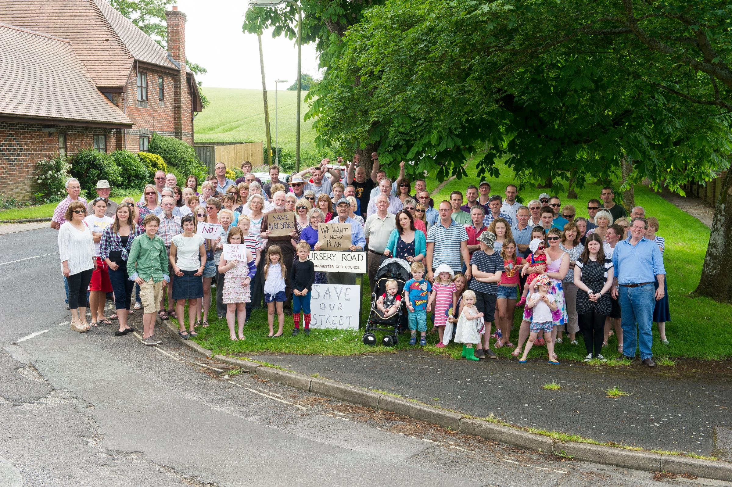 Angry residents stage protest over plans for hundreds of new homes