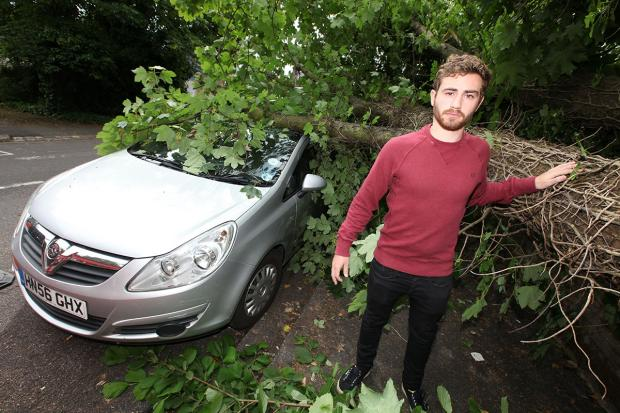 Merl Anteney-Wright and his crushed car