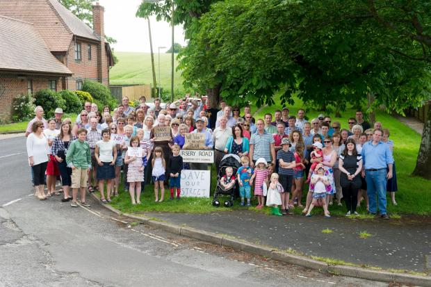 Protesters from the Nursery Road Residents Group meet to protest against the proposed development at Sun Lane, Alresford.
