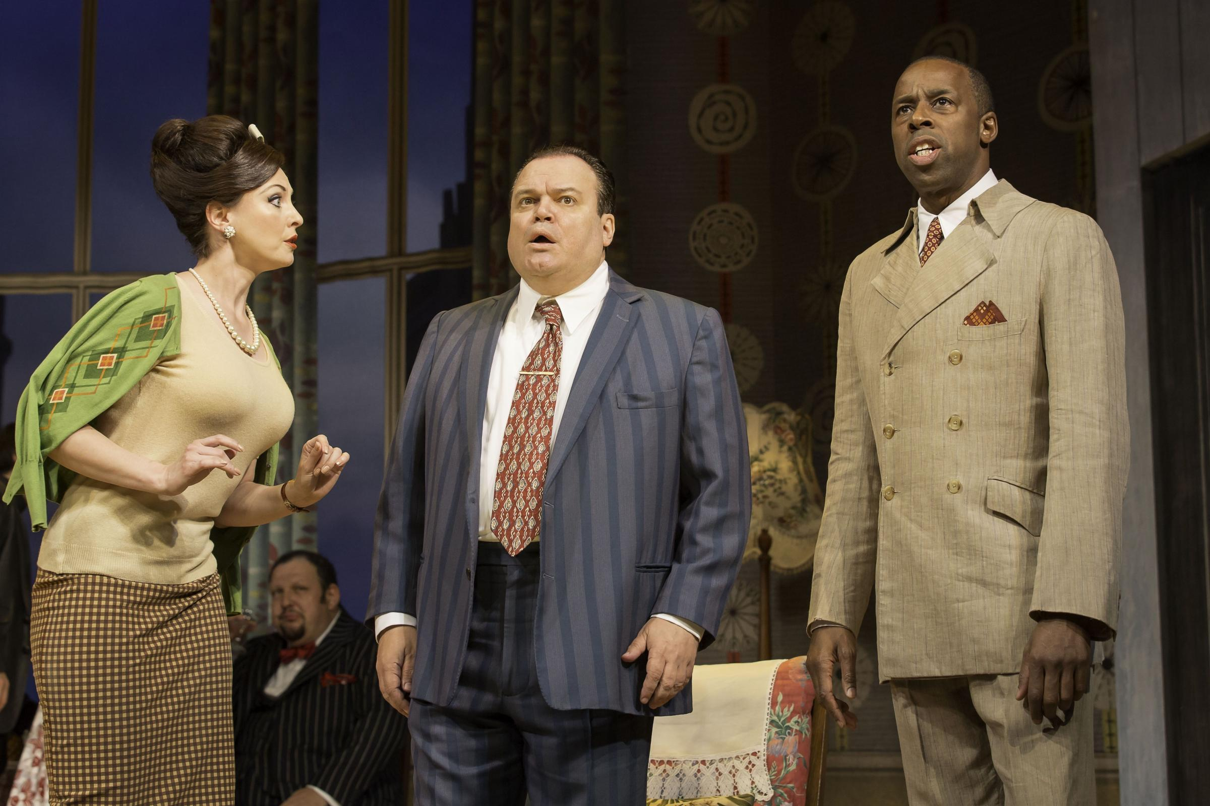 Emma Barton, Shaun Williamson and Derek Elroy star in One Man, Two Guvnors