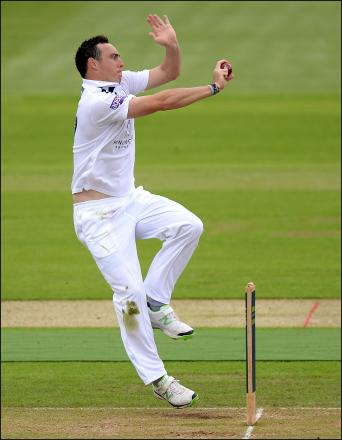 Kyle Abbott in action for Hampshire today.