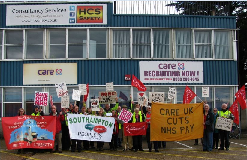 Protesters campaign against care worker pay cuts