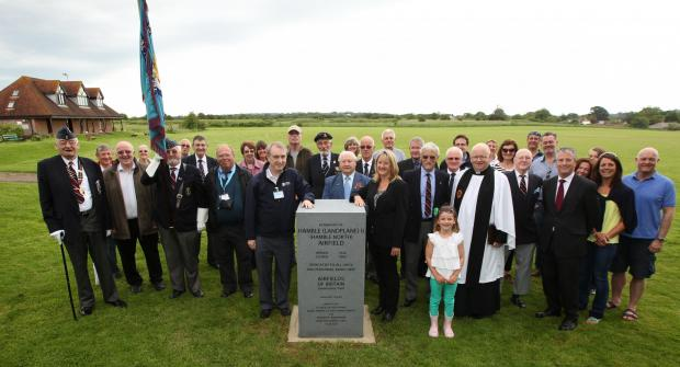 The memorial is unveiled Hamble North Airfield.