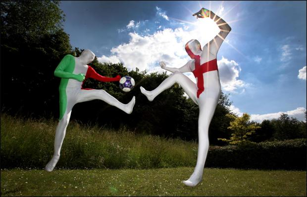 The Echo's Peter Howard and Joe Curtis square up in Italian and English morphsuits