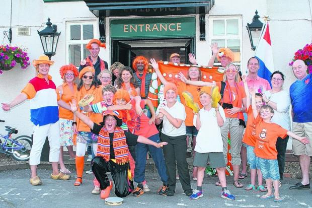 Daily Echo: Dutch fans outside the Silver Fern pub in Warsash.