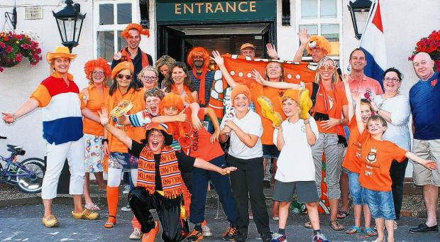 Dutch fans celerbate at the Silver Fern Pub in Warsash