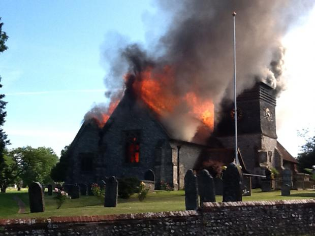 Village unites after devastatin fire destroys 800-year-old church