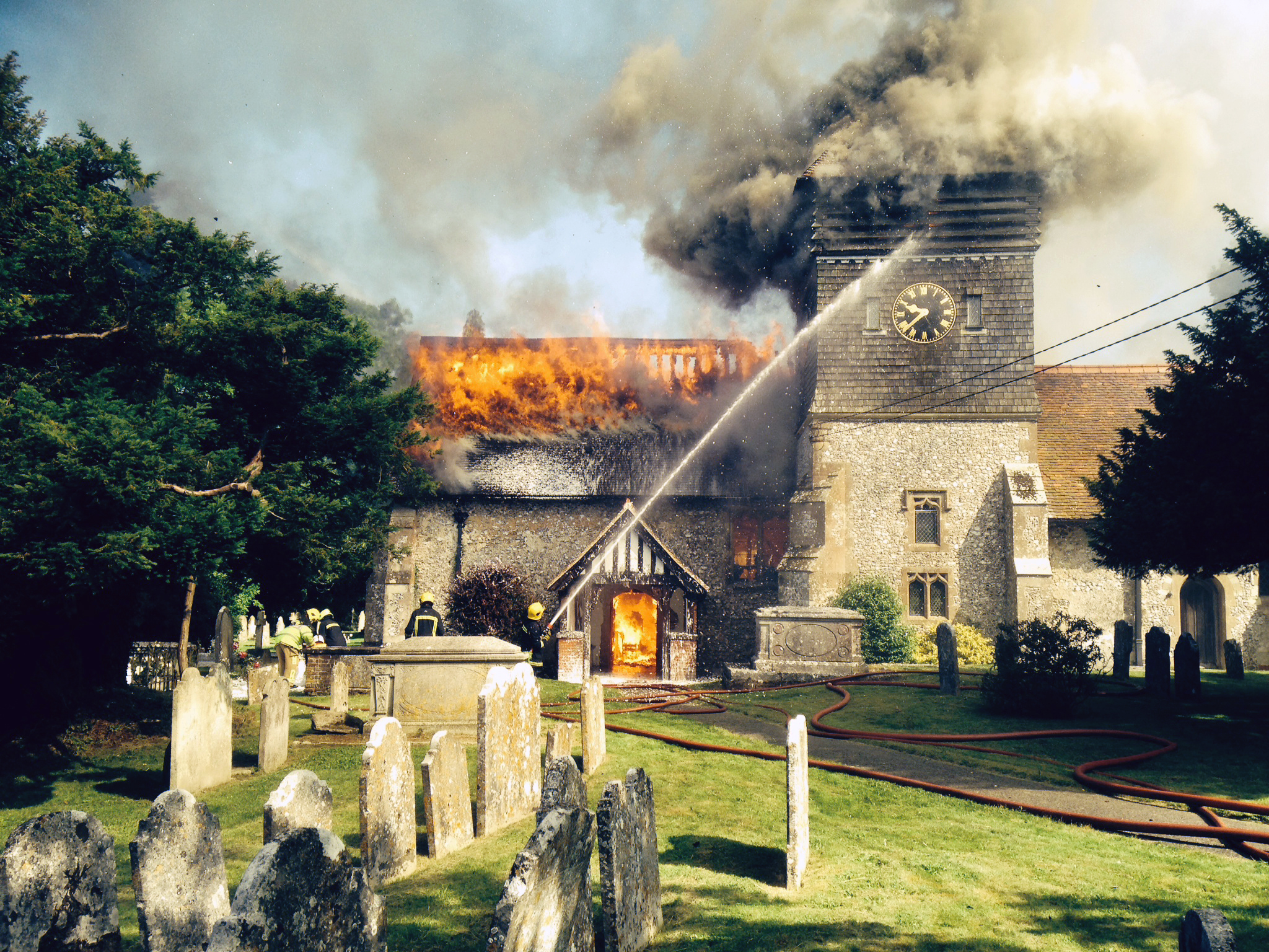 VIDEO: 80 firefighters battle medieval church fire