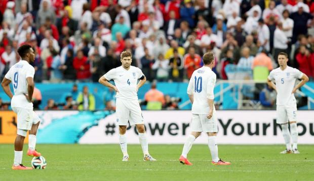 England players are left dejected after World Cup defeat