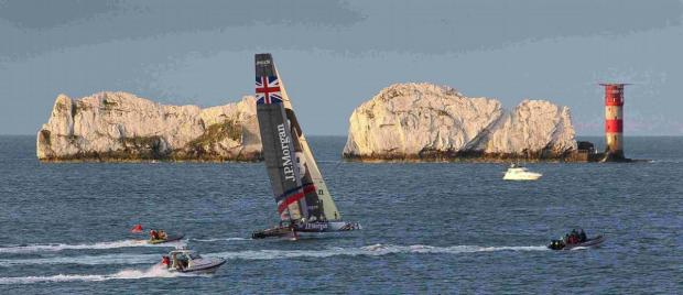 Daily Echo: Sir Ben Ainslie on his way to winning in last year's Round the Island race