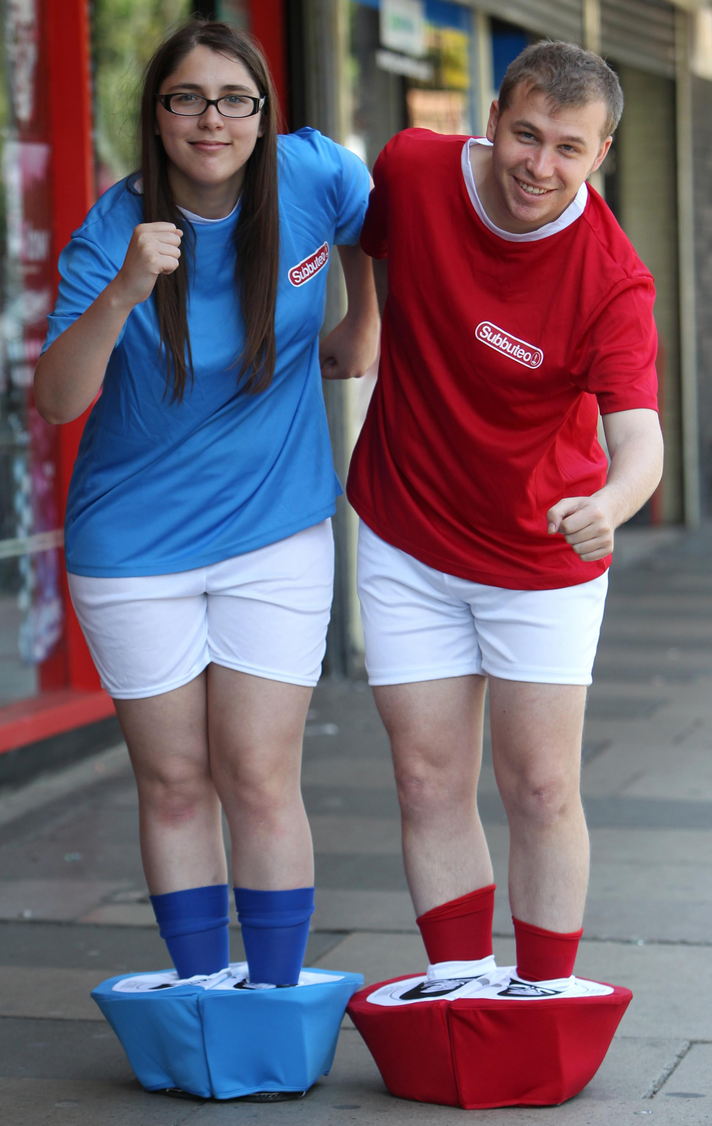 Hollywood Just For Fun's Laura Zamburlini and Daily Echo reporter Michael Carr dress up as Uruguay and England Subbuteo figures respectively