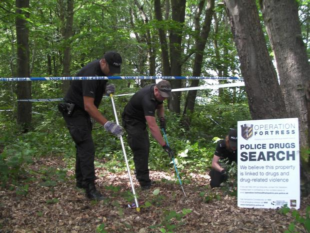 Police search woodland near Thornhill