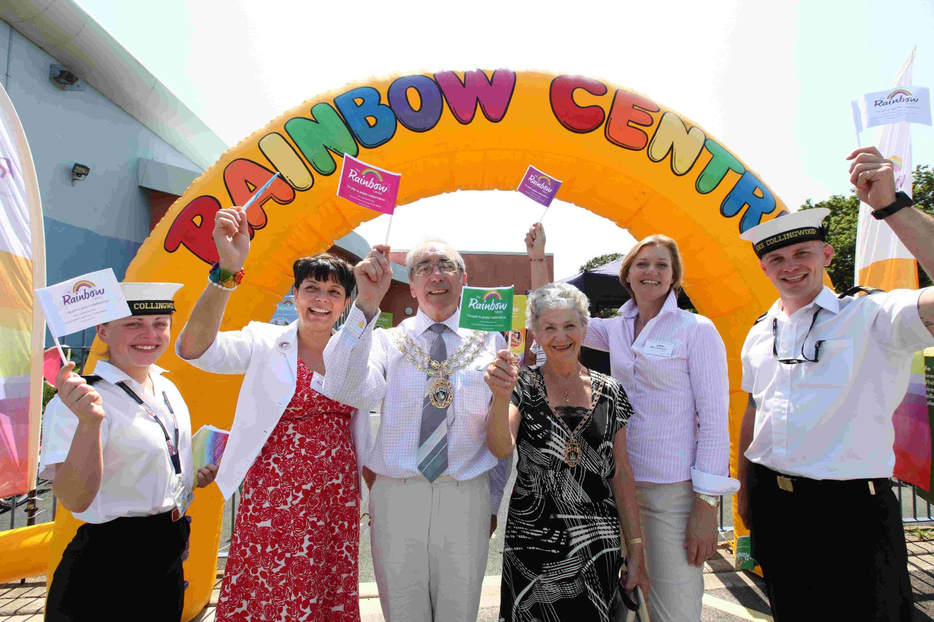 Jamie-Lee McGuinness (HMS Collingwood) Lucy Docherty (chair of the Rainbow Centre) Fareham Mayor and Mayoress Cllr David and Pamela Norris, Lara Bull (director of Rainbow Centre) and James Robertson (HMS Collingwood)