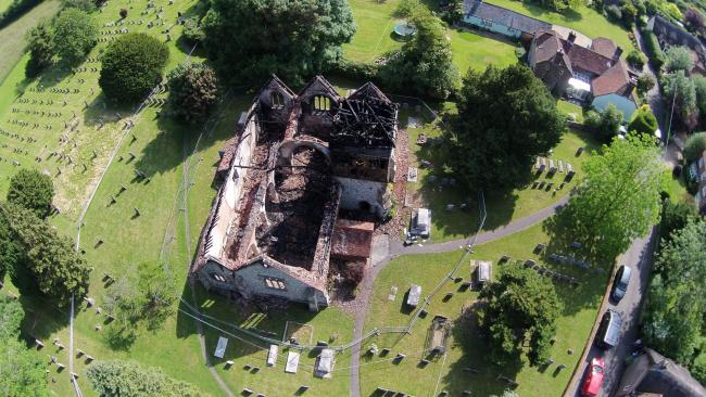 Huge extent of destruction of St Peter's Church in Ropley revealed. Photo by Kevin Milner