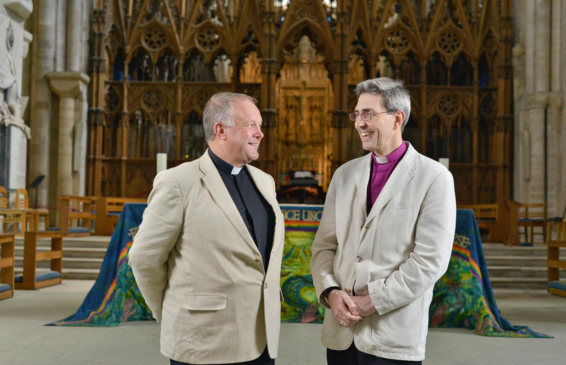 Reverend Canon David Williams with the Right Reverend Tim Dakin, the Bishop of Winchester