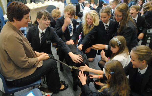 Pupils at Perins School learn about guide dogs