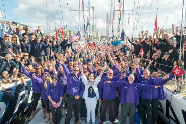 The Mayor of Derry Brenda Stevenson with the competitors of the round the world ocean race as they prepare to leave on their penultimate race.