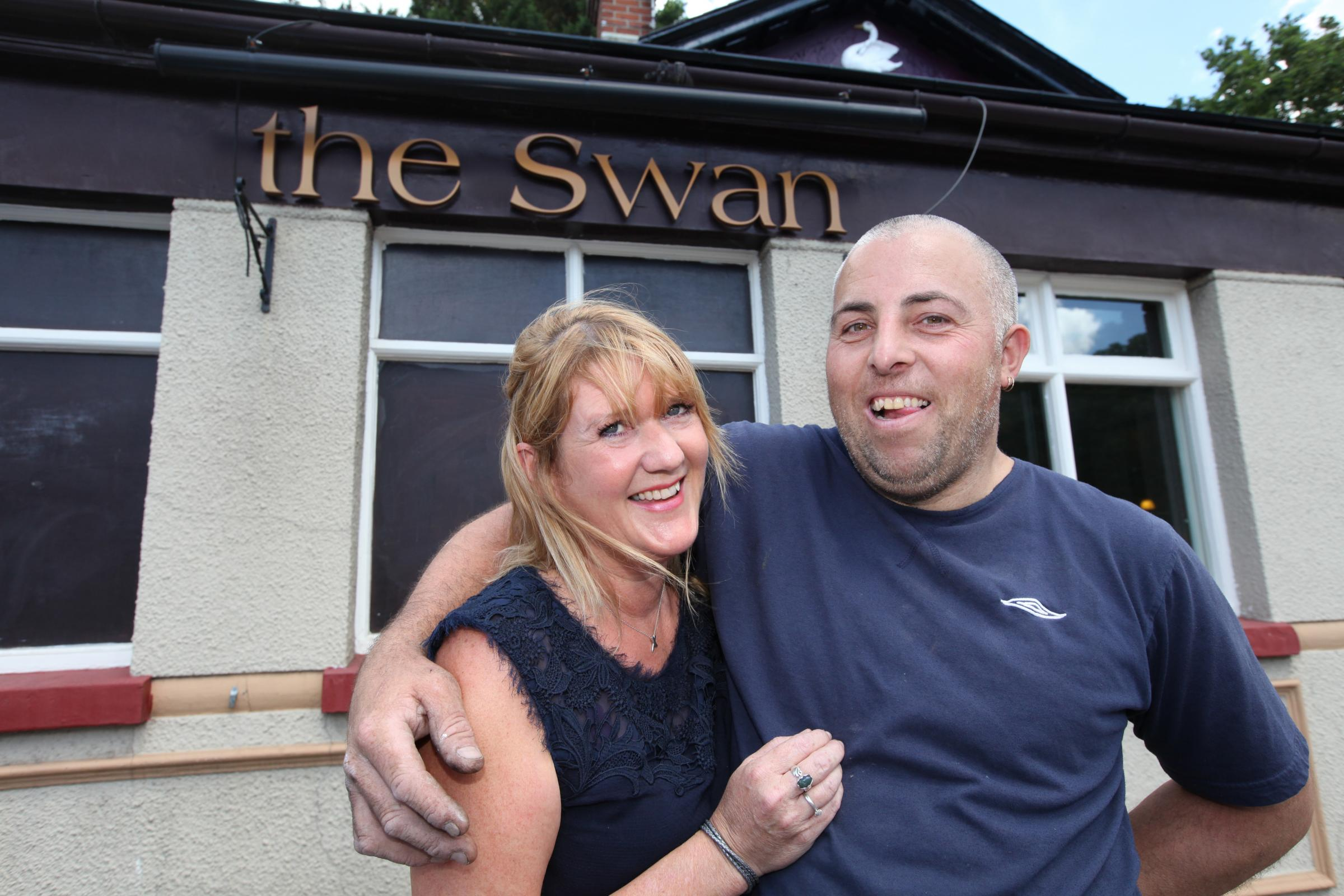 Jacqui Gordon, new landlady of The Swan, with partner Richard Fearles