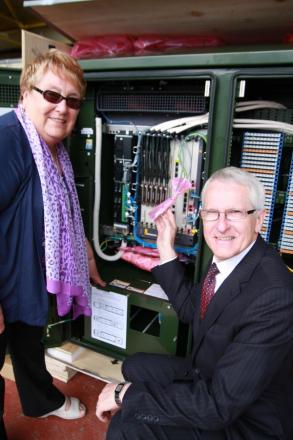 Executive member for economy and tourism, Councillor Shirley Smart, is shown the rural broadband cabinets by BT's Peter Cowen.