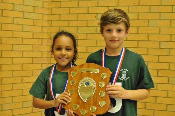 Daily Echo: Jasmine Brooks and Oliver Cazaly collecting the primary school team trophy on behalf of Shirley Junior School